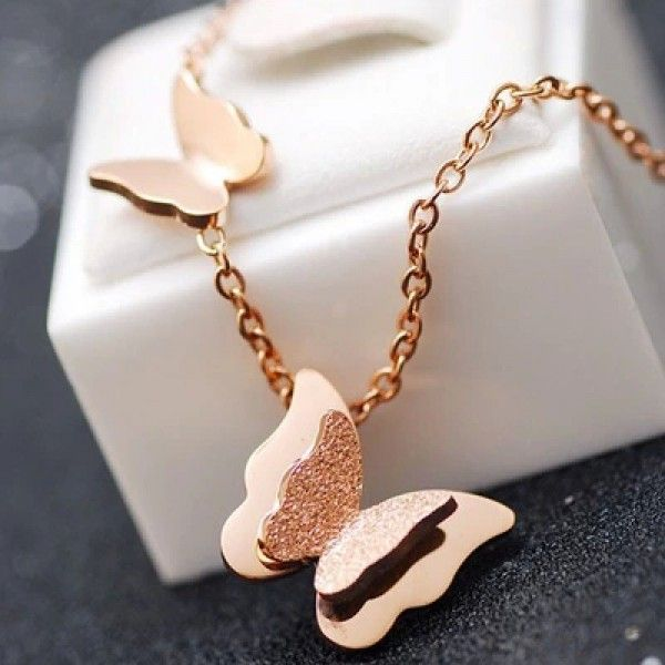 Beautiful Rose Gold Tone Frosted Butterfly Necklace Rose Gold and