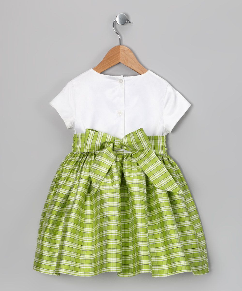 White u lime bow silk dress toddler u girls daily deals for moms
