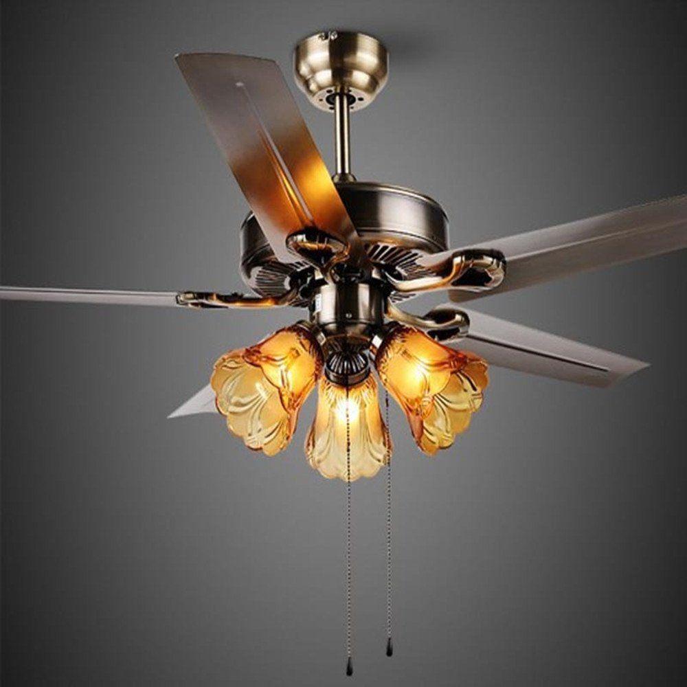 Arctic European 42 Inch Black Creative Ceiling Fan Fan Light With
