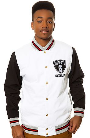 The Crooks and Castles Threats Baseball Jacket in White & Black