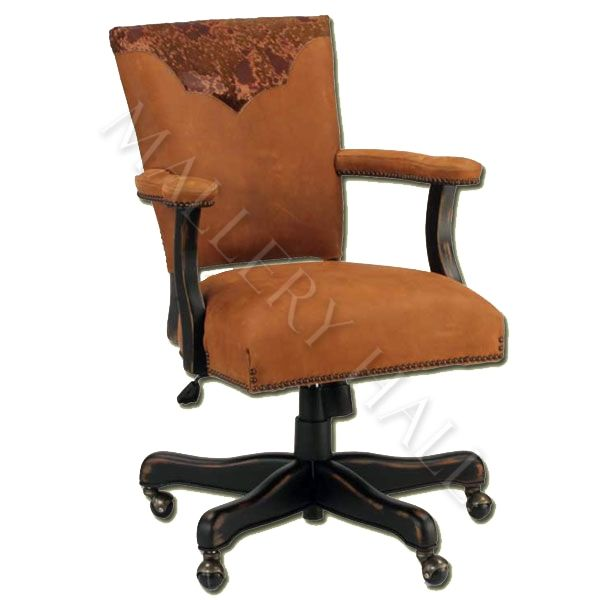 Custom-made Suede Leather Office Chair With Longhorn Print
