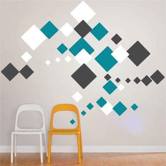 Carré de stickers muraux, Stickers muraux carré, carré murale dessins, carré murale Art déco ...