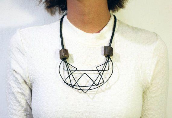 Scribbles Jewelry Geometric Necklace Avant Garde by GEGEMADE via etsy