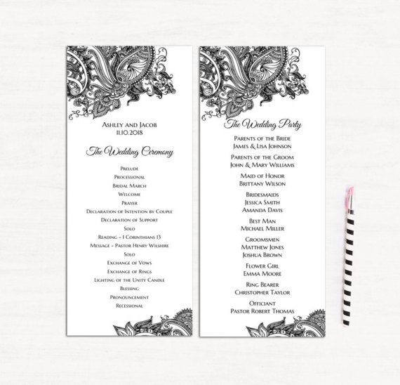 lace wedding program template classic ceremony card traditional