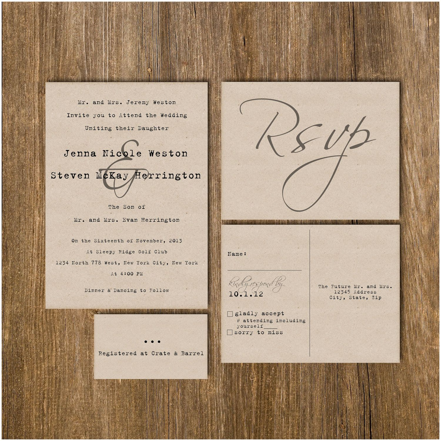 Traditional Vintage Typewriter Wedding Invitation Package Deposit 40 00 Via Etsy