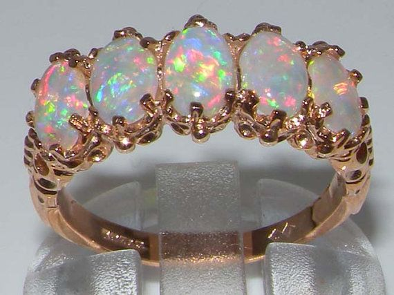 Solid English 925 Sterling Silver Colorful Opal Vintage StyleEternity Band Ring