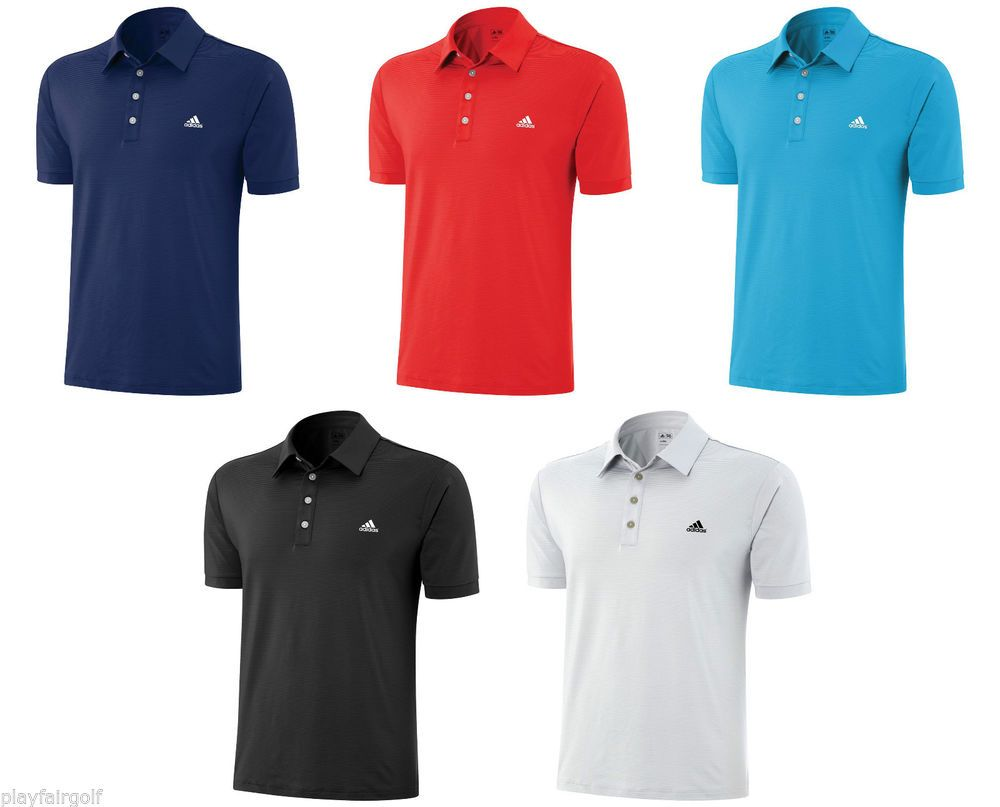 New for 2014 adidas golf climalite stretch microstripe for Mens golf polo shirts