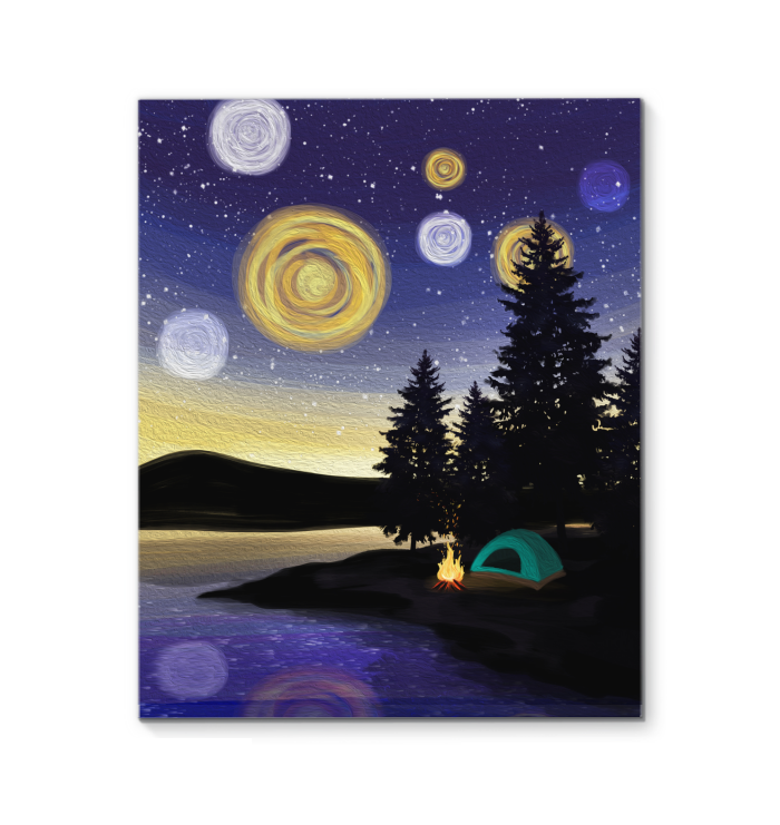 Camping Under Night Stars Canvas Painting