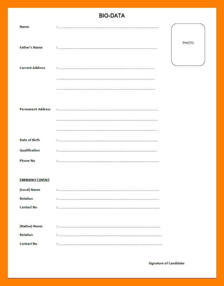 Format Of Biodata For Job Pdf Luxury Sample Of Biodata For Job Application Etame Mibawa Unmiser Able Biodata Format Biodata Format Download Job Resume Format