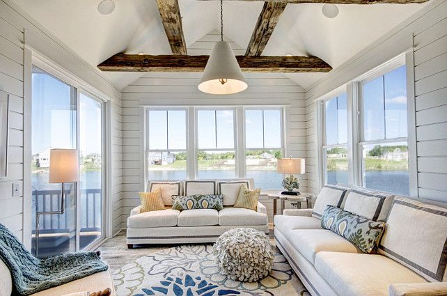 Great Sunroom Decor Furniture Rug Exposed Beams And