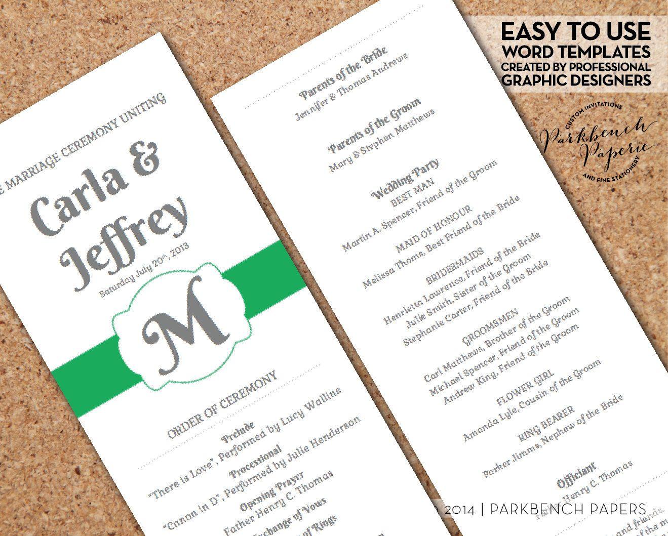 wedding program kelly green ribbon diy editable word template