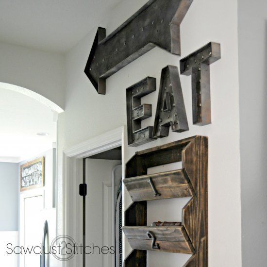 Attractive Tutorial Showing How To Create A Faux Metal Finish On DIY Wood Letters. Eat  SignKitchen ...