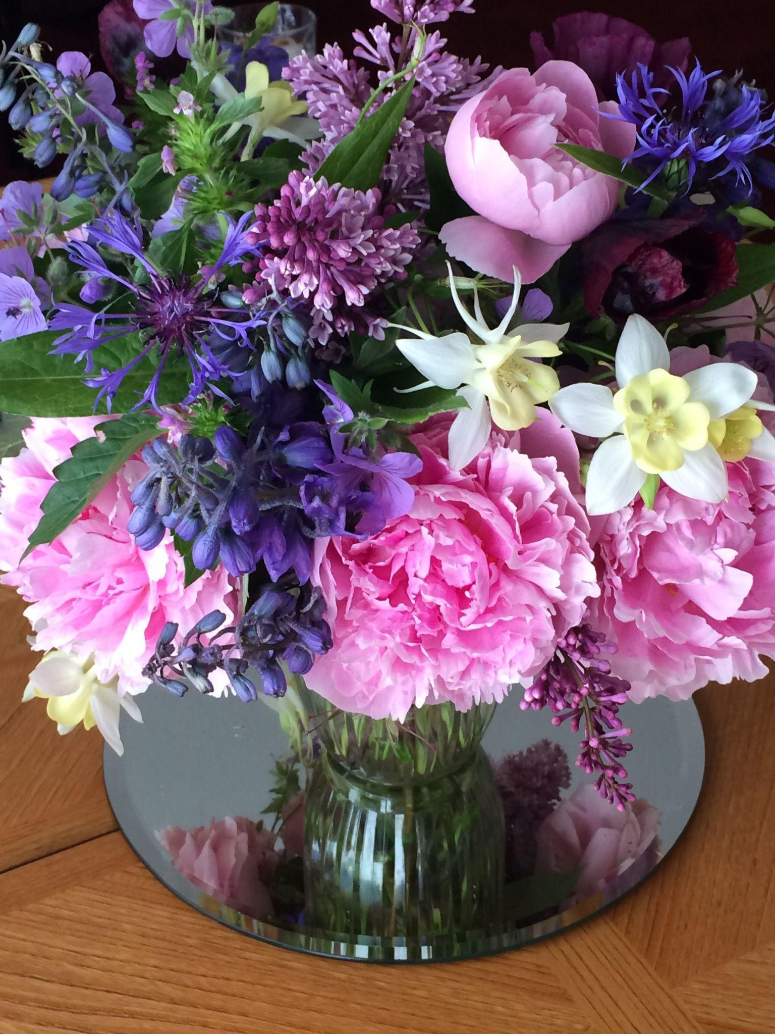 Garden Flower Arrangement Of Peonies, Lilac, Columbine And Delphinium