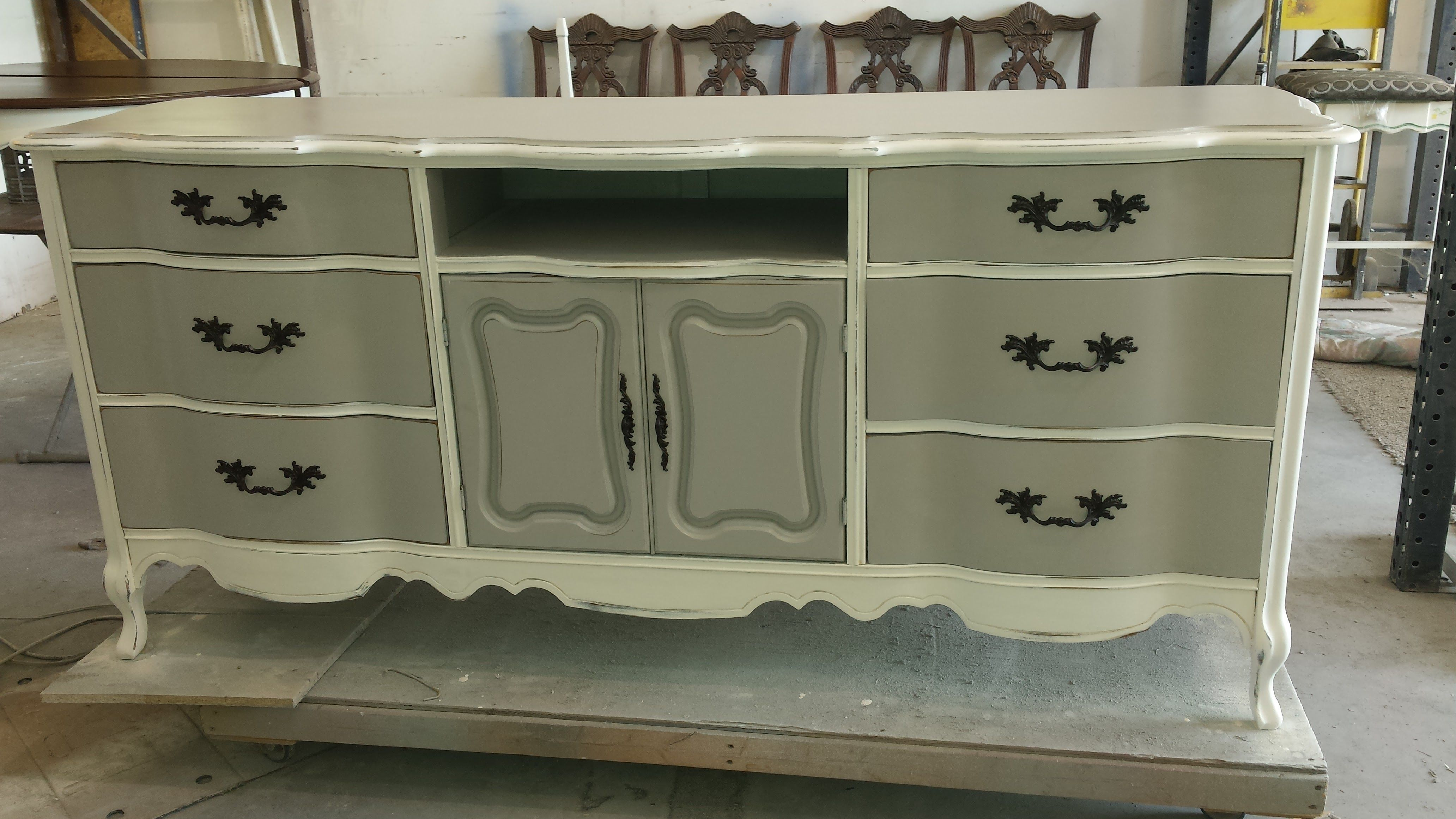 Vintage Painted Tv Console Media Center French Shabby Chic Custom Furniture