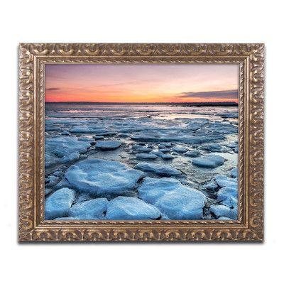 Trademark Fine Art Icy Sunrise 2 By Pierre Leclerc Framed