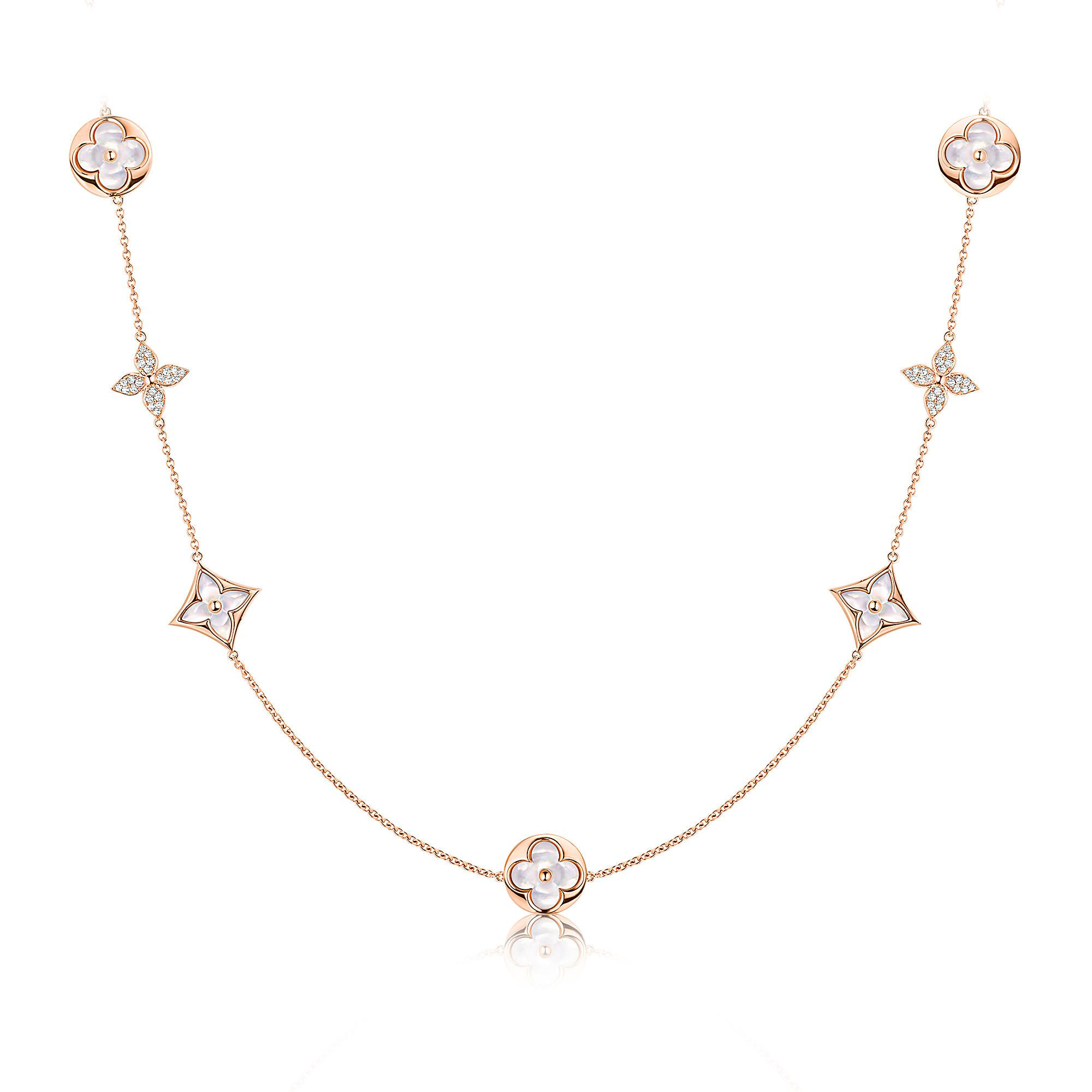 Key:product_page_share_discover_product Monogram Sautoir, Pink Gold,  Diamonds And White Motherof