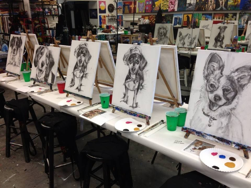 Getting Ready For Paint Your Pet Frisco Tx Painting With A Twist Paint Your Pet Night Painting Canvas Painting