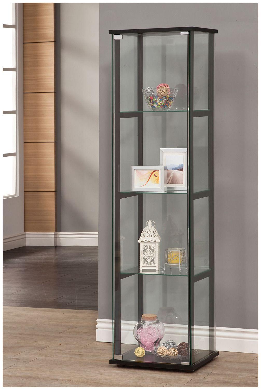 Narrow Curio Display Cabinet In Black Coaster Home Gallery S