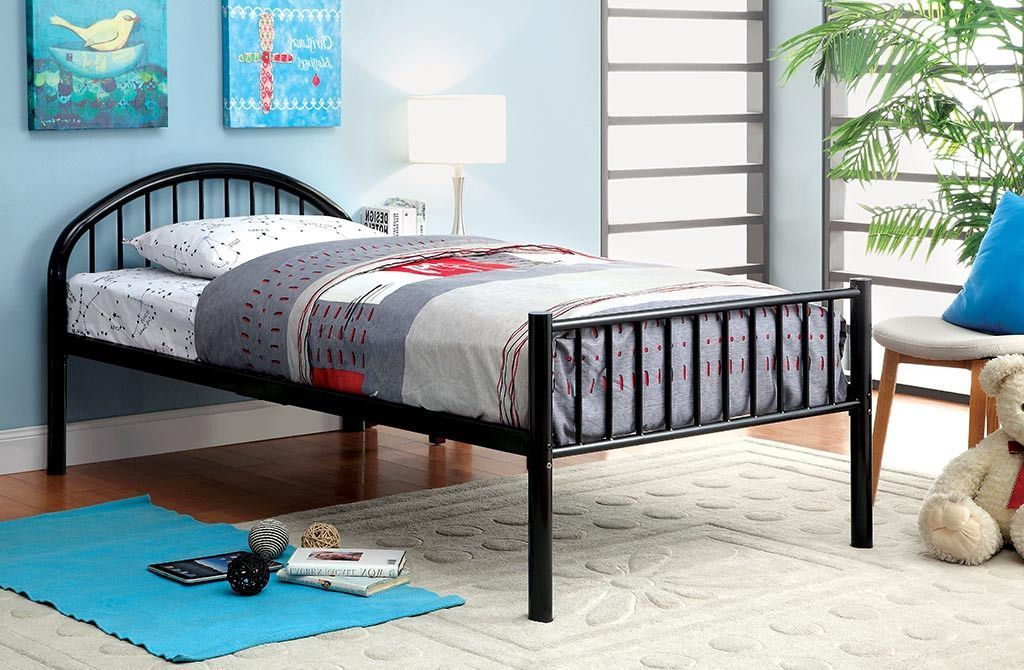Alloway Contemporary Twin Bed in Black Furniture, Metal