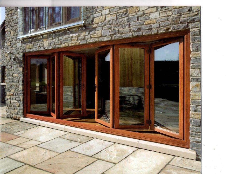 Exterior Bi Fold Patio Glass Door With Varnished Wooden Frame