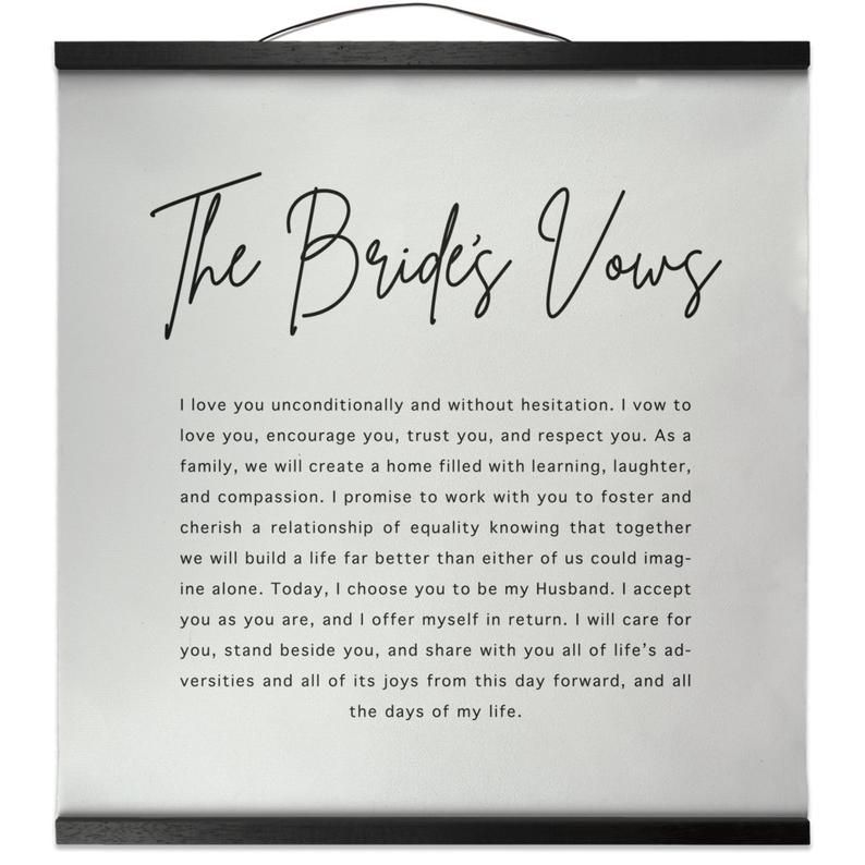 The Brides Vows Wedding Vows Frame Wall Hanging Decor Wedding   Etsy