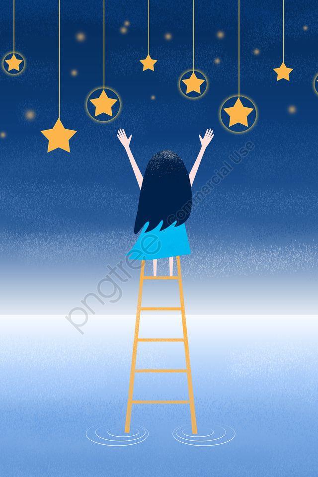 فتاة صغيرة تلتقط النجوم سلم السماء المرصعة بالنجوم Night Illustration Image Illustration Starry Sky