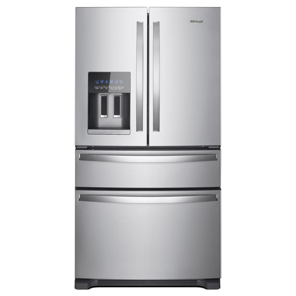 Whirlpool 25 Cu Ft French Door Refrigerator In Fingerprint Resistant Black Stainless Wrx735sdhv The Home Depot French Door Refrigerator Stainless Steel French Door Refrigerator Refrigerator Whirlpool
