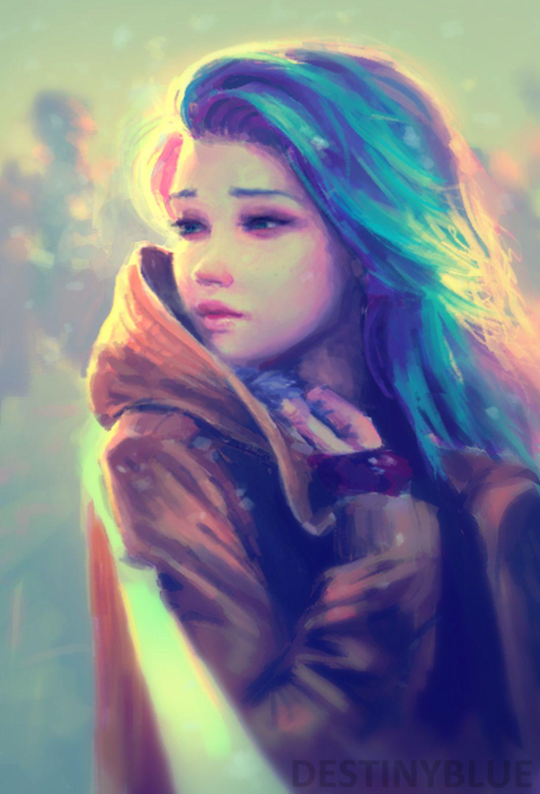 deviantART Digital Art Anime Girl with Blue Hair