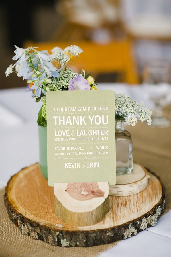 Rustic Centerpiece With Thank You Sign Wedding Centrepieces Table Decorations Tables