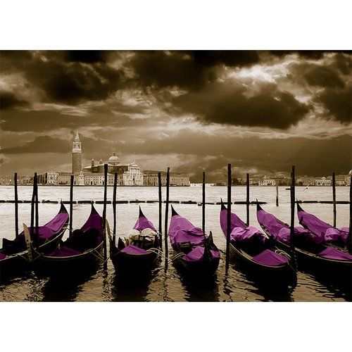 Photo of East Urban Home glass picture Around the World Venice, graphic print in lilac | Wayfair.de