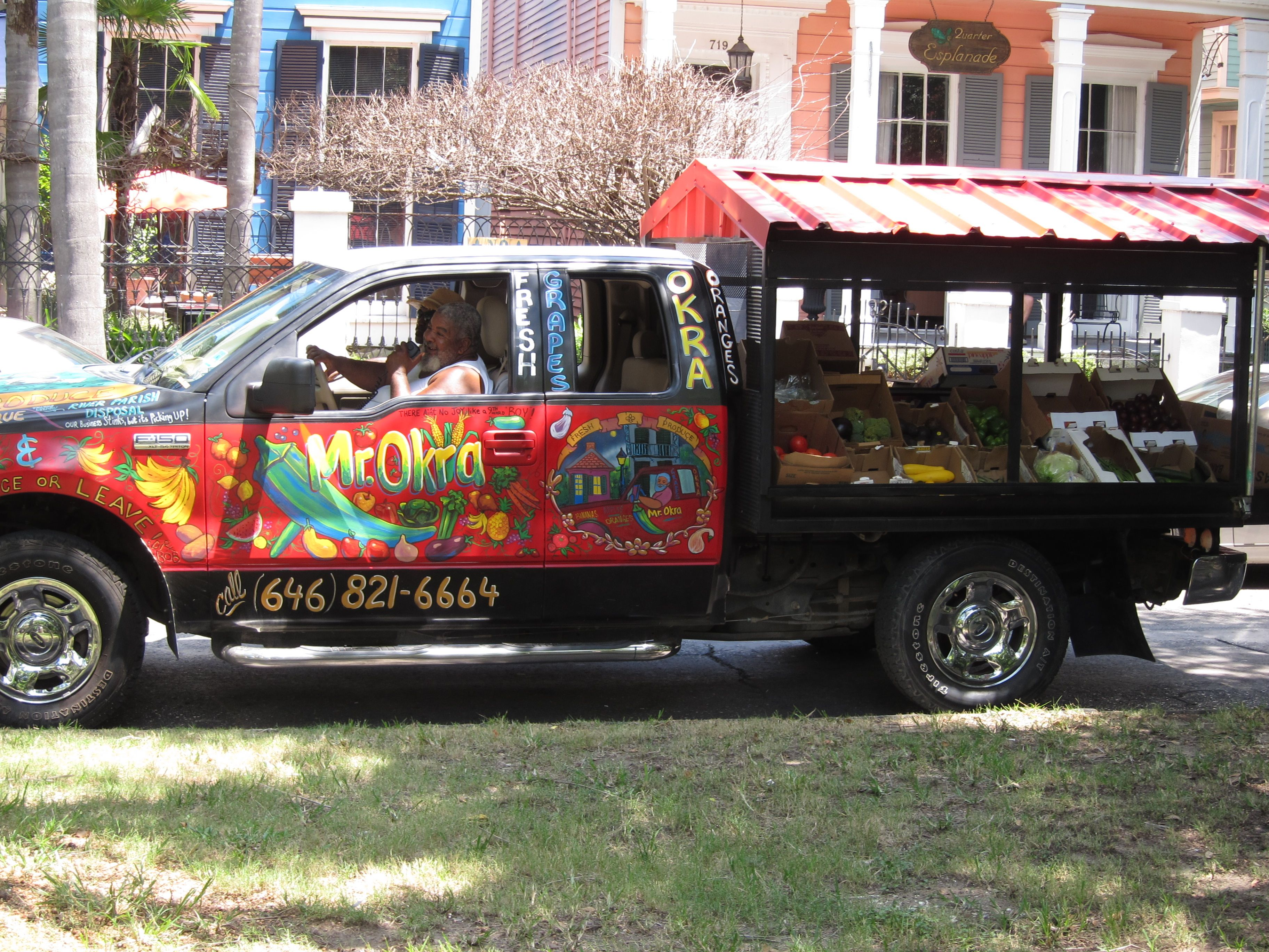 Mr. Okra - the mobile vegetable stand. I saw this guy on Larry, the Cable Guy's tv show. He's a real character. New Orleans, Louisiana