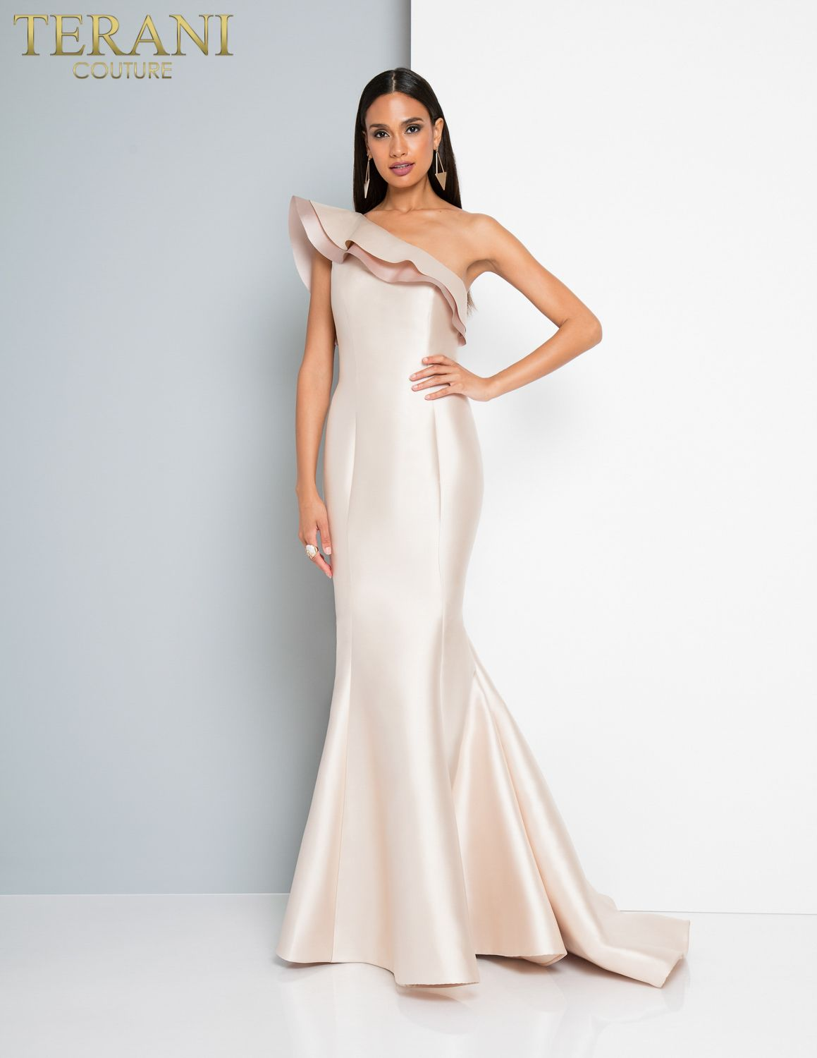f5adf4daed2d Terani Couture Blush Ivory Fitted mermaid one shoulder dramatic ruffle  Ypsilon Dresses Pageant Evening Gown Miss America Miss USA Ypsilon Dresses  Prom ...