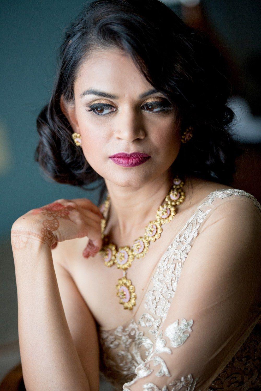bridal gold and pink makeup   indian wedding blog   think shaadi
