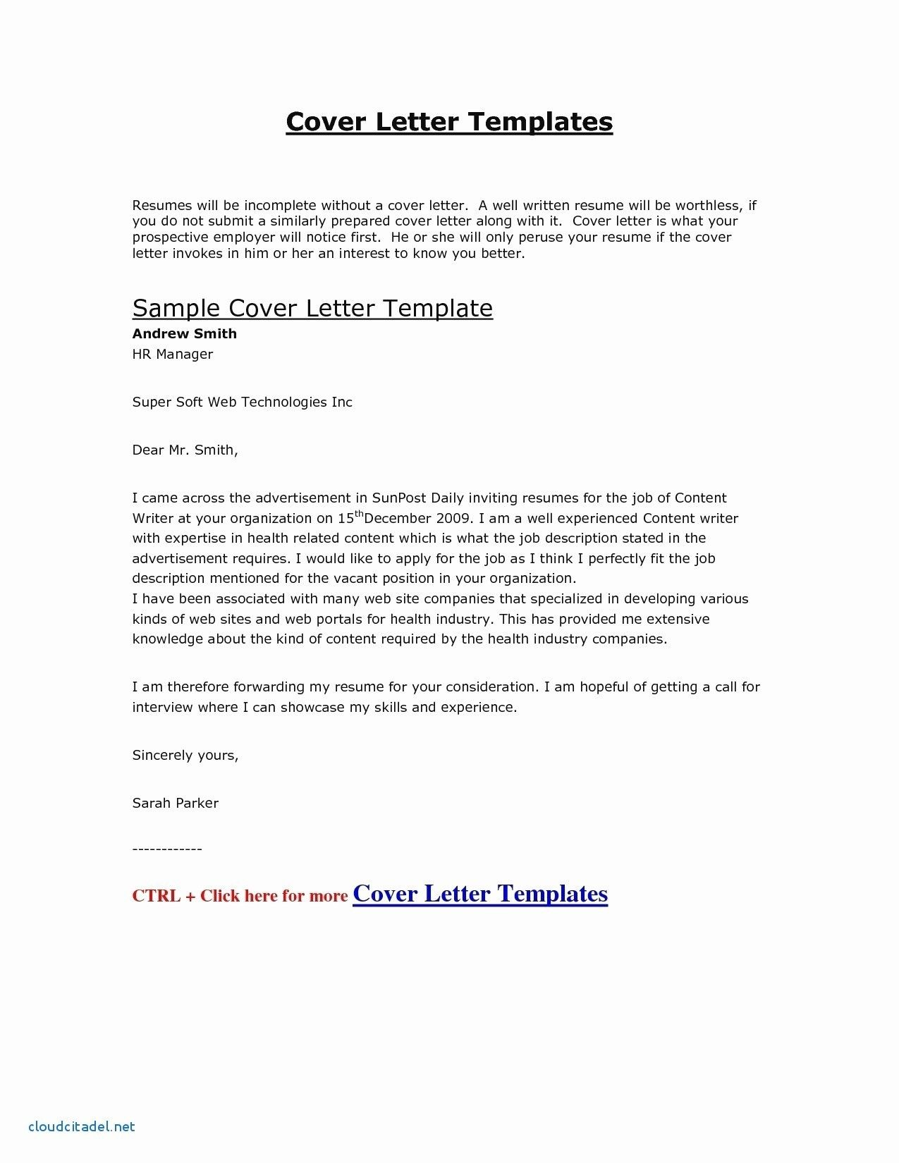 sample job application letter doc fresh sample cover