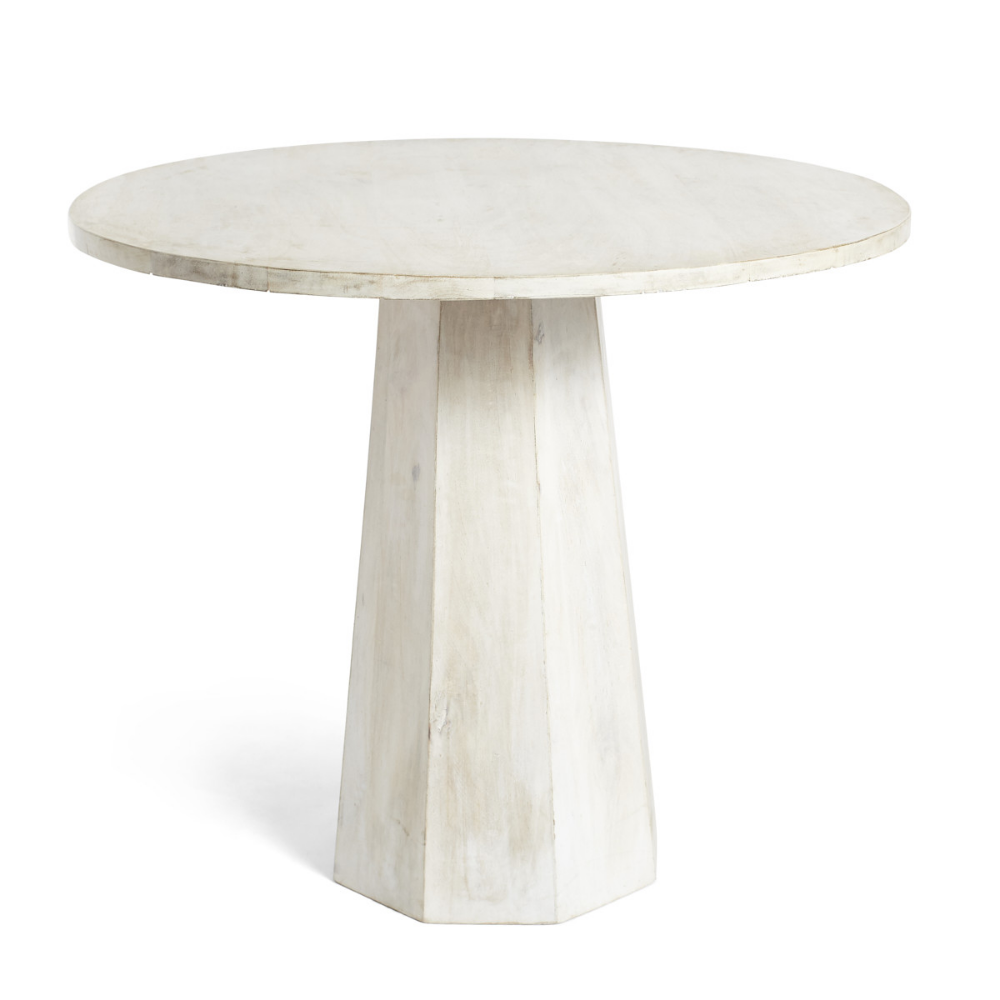 Whitewashed Pedestal Side Table Round Top With Octagon Column