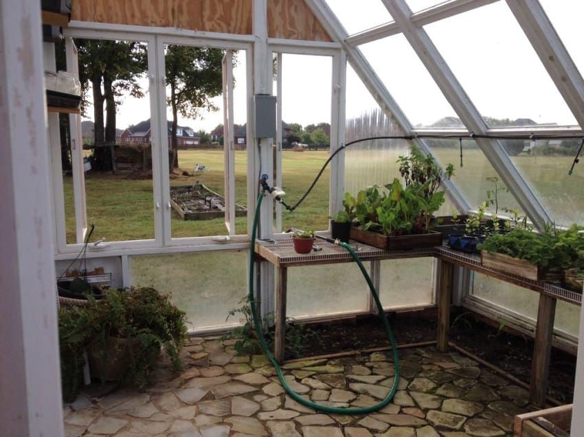 He Builds a Greenhouse from Old Windows Backyard