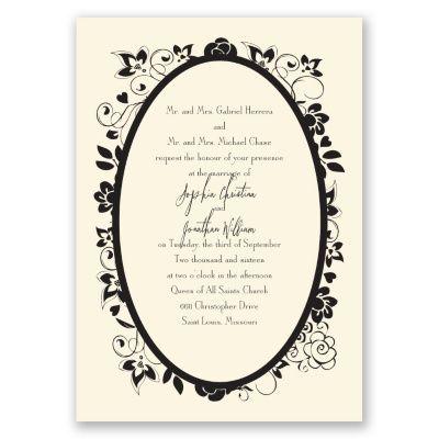charming floral wedding invitation - ecru | flower wedding invites at Invitations By Dawn