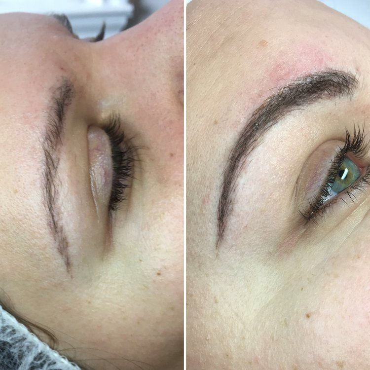 Healed microblading before after touchup brows
