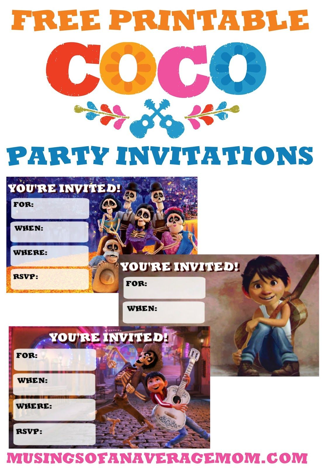 Coco Invites | Disney Coco Printables | Free birthday