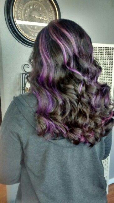 Chunky Purple Peekaboo Highlights By Hannah Schobert Hair Styels Hair Today Brown Hair With Highlights