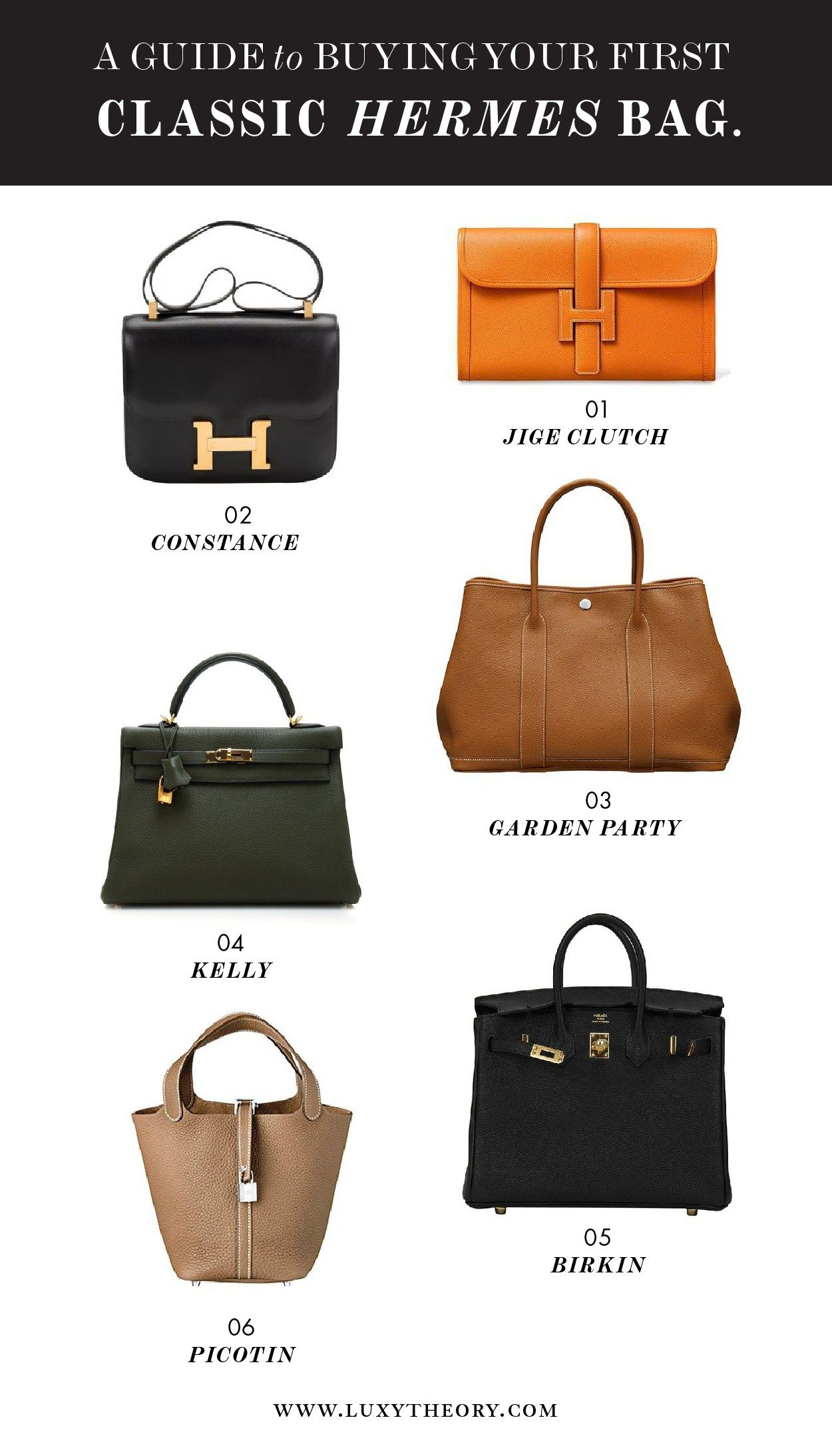 cb50ca31737e Your Guide to Buying Your First Classic Hermes Bag ( it doesn t have to be  a birkin ) - Luxy Theory Constance    Jige Clutch    Kelly    Garden Party  ...