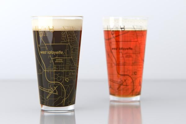 West Lafayette In Purdue College Town Map Pint Glass Set College Town West Lafayette Pint Glass Set