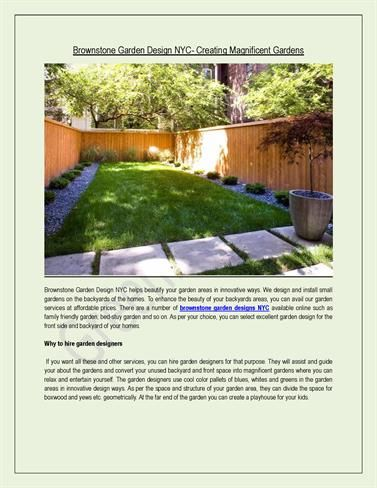 Brownstone Garden Design NYC  Creating Magnificent Gardens