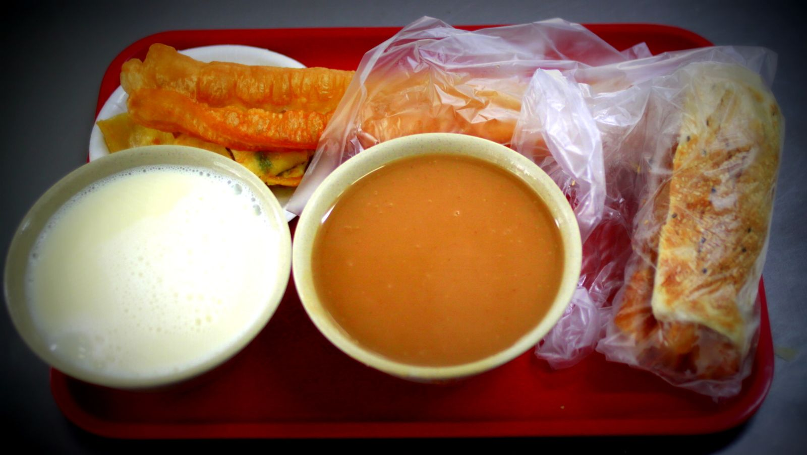 Typical breakfast in Taiwan: Hot Soy Milk, Rice Milk ...