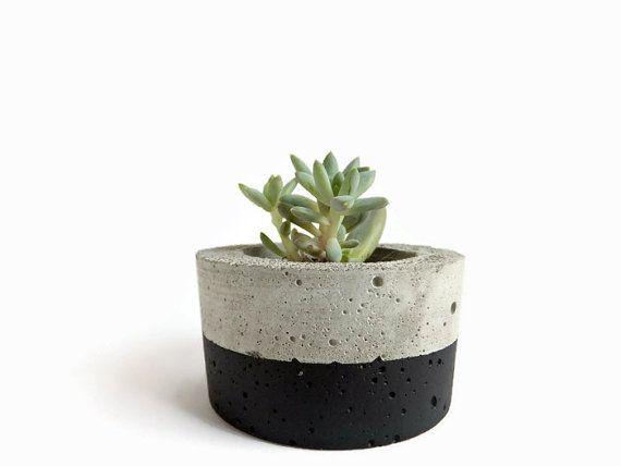 Small Round Concrete Black Planter for Succulent Home by BetonDeko