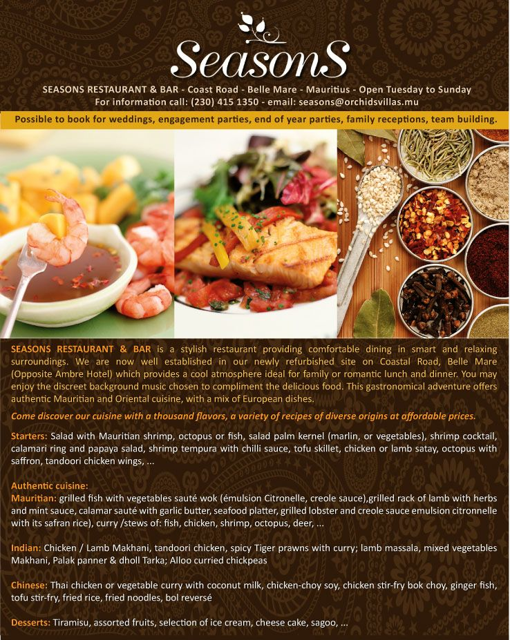 Seasons Restaurant Come Discover Our Cuisine With A Thousand Of Flavours Seasons Restaurant Stylish Restaurants Restaurant
