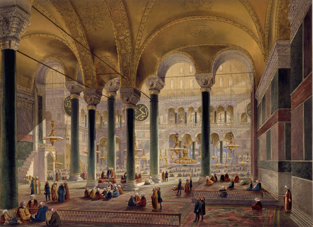 The Hagia Sophia is an enormous architectural marvel in Istanbul, Turkey, that was originally built as a Christian basili…   Hagia sophia, Ancient library, Painting