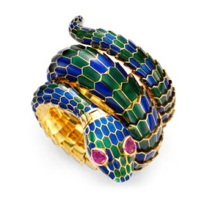 Enamel, Gold and Ruby Snake Watch, by Bulgari, circa 1960 - www.fd-inspired.com by FD Inspired