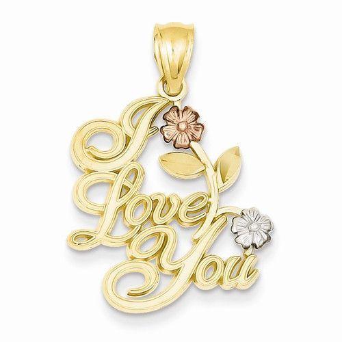 14K Tri Color Gold I Love You Pendant