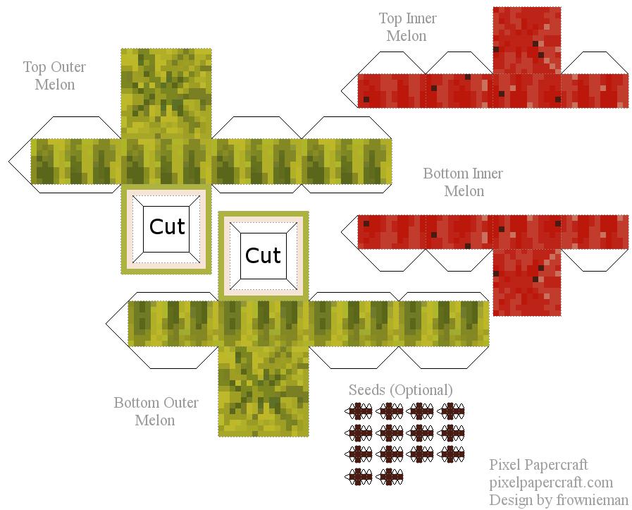 Minecraft Advanced Melon Printable Papercraft Printables